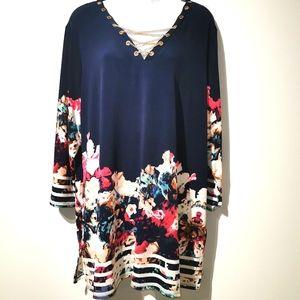 JM collection size 2X long sleeve multicolor blous